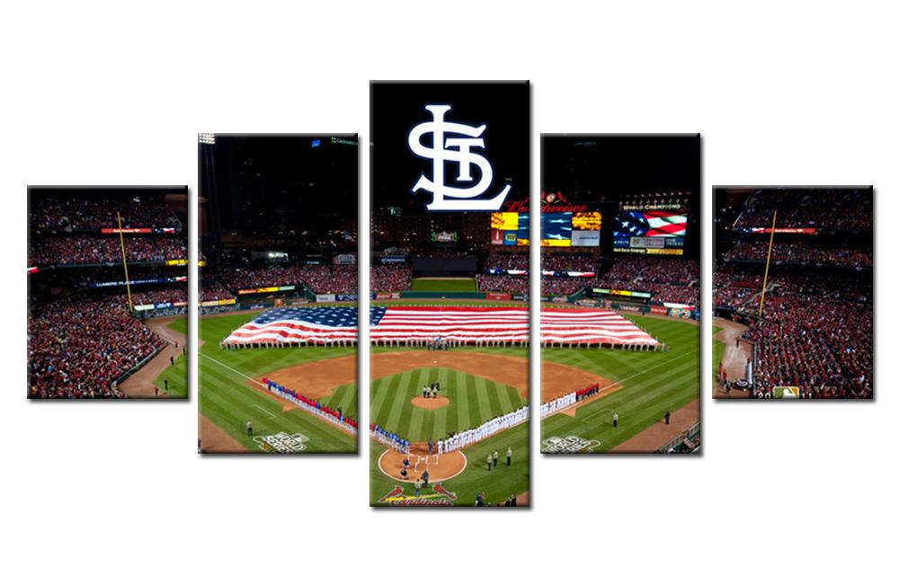 5 Piece St. Louis Busch Stadium Baseball Canvas Painting Frames - It Make Your Day