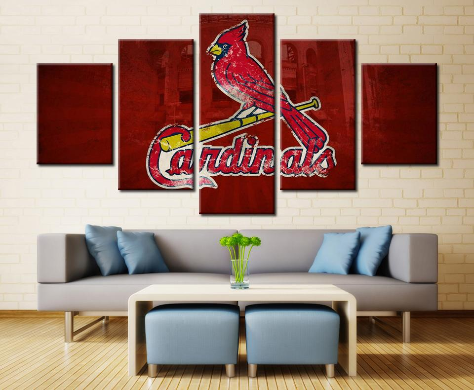 5 Piece St. Louis Cardinals Logo Baseball Canvas Painting Frames   It Make  Your Day