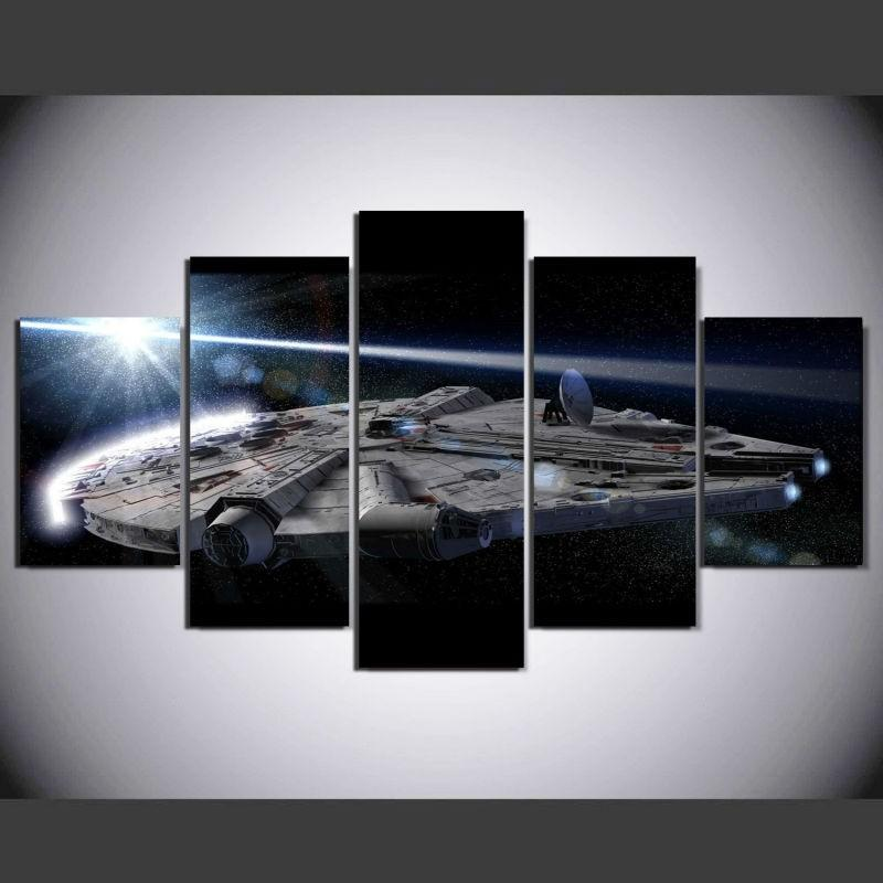 5 Piece Star Wars Millennium Falcon Movie Canvas Painting Wall Art - It Make Your Day