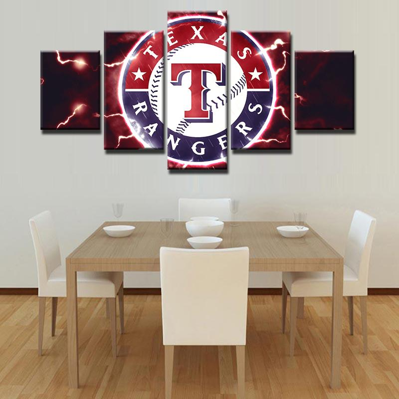 5 Piece Texas Rangers Logo Baseball Canvas Painting Frames For Sale ...