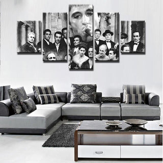 5 Piece The God Father Movie Character Movie Canvas Painting Wall Art - It Make Your Day