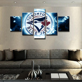 5 Piece Toronto Blue Jays Sport Team Basketball Canvas Painting Wall Art - It Make Your Day