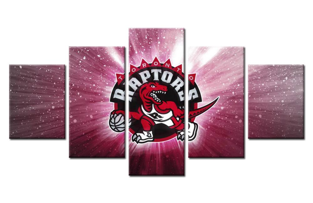 5 Piece Toronto Raptors Team Basketball Canvas Painting Wall Art - It Make Your Day