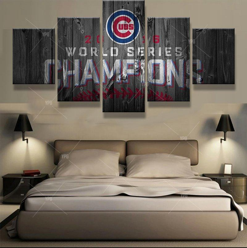 5 Piece World Series Champions Chicago Cubs Canvas Paintings - It Make Your Day