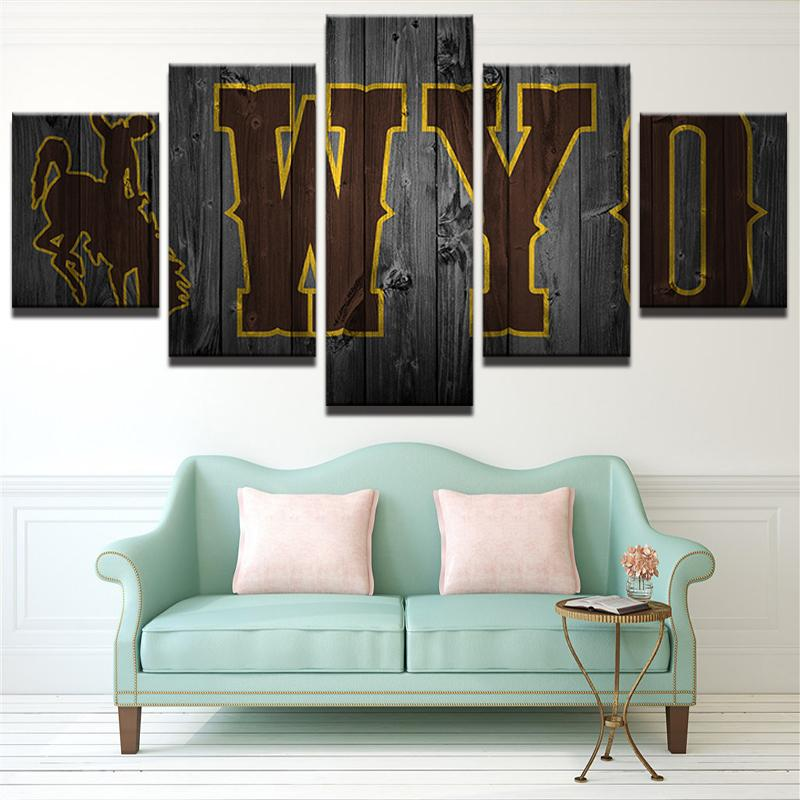 5 Piece Wyoming Cowboys Basketball Canvas Painting Wall Art - It Make Your Day