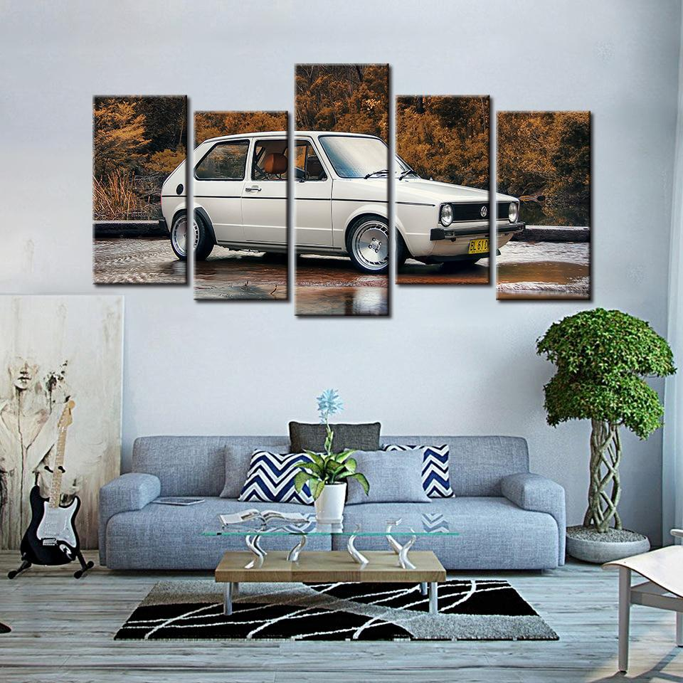 5 Pieces HD Printed Volkswagen Golf MK1 Canvas - It Make Your Day
