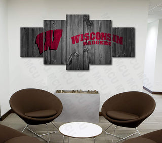 Wisconsin Badgers 1 - 5 Pieces Canvas Prints Wall Art Home Decor