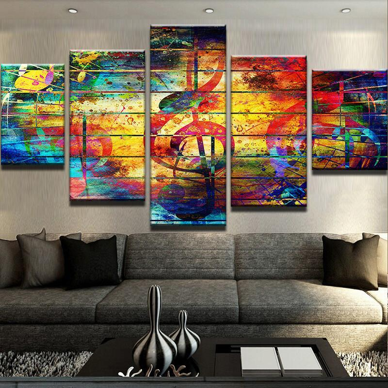 5 Piece Abstract Musical Notes Canvas Wall Art Paintings - It Make Your Day