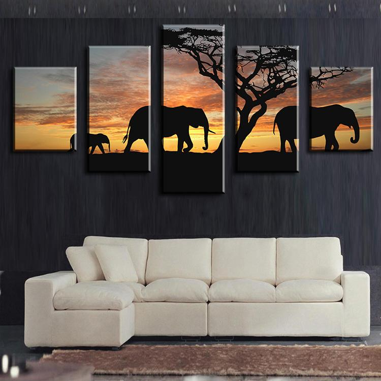 5 Piece Elephants Walking Africa Canvas Wall Art Paintings - It Make Your Day