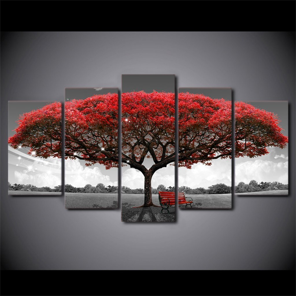 5 Piece Autumn Red Tree Canvas Wall Art Paintings - It Make Your Day