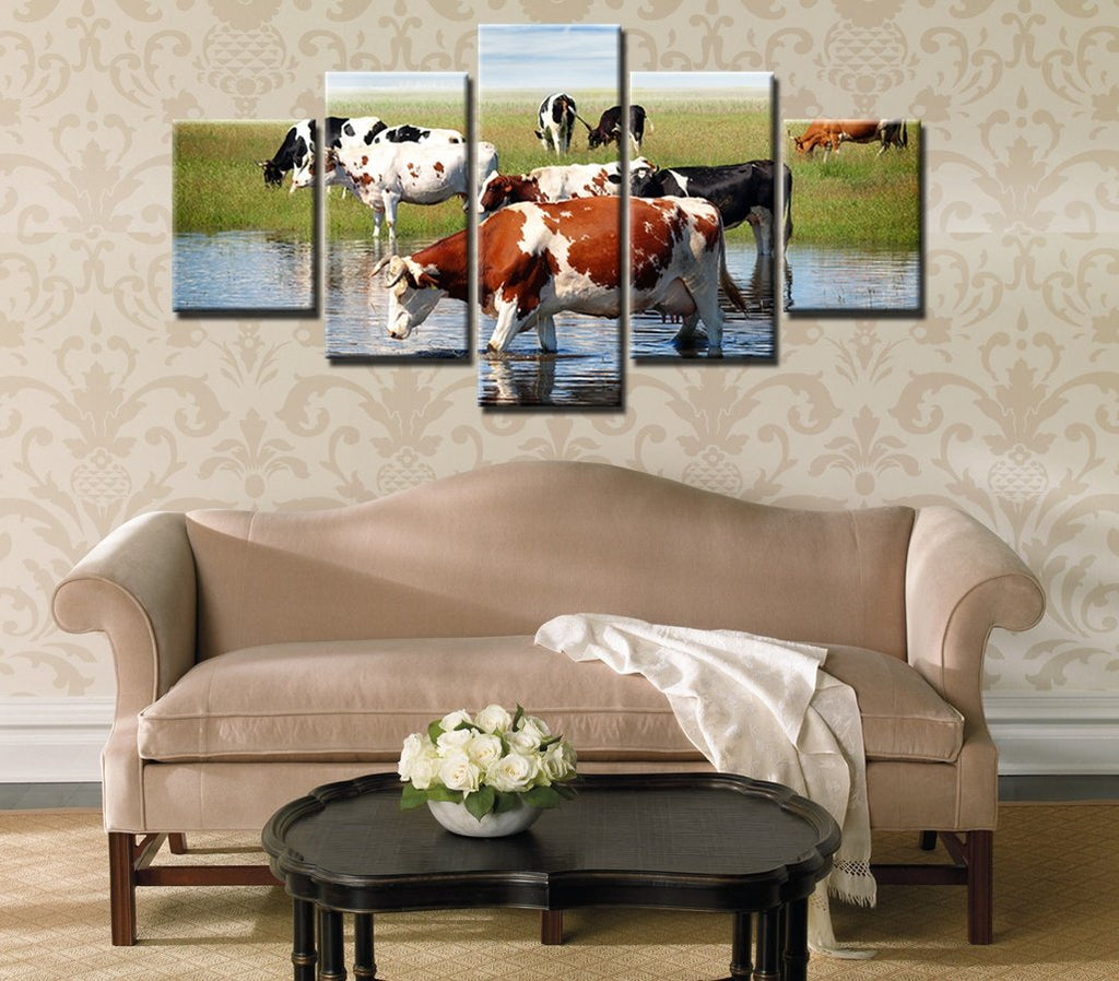 5 Pieces Group of Cattle on the Prairie Canvas Paintings - It Make Your Day