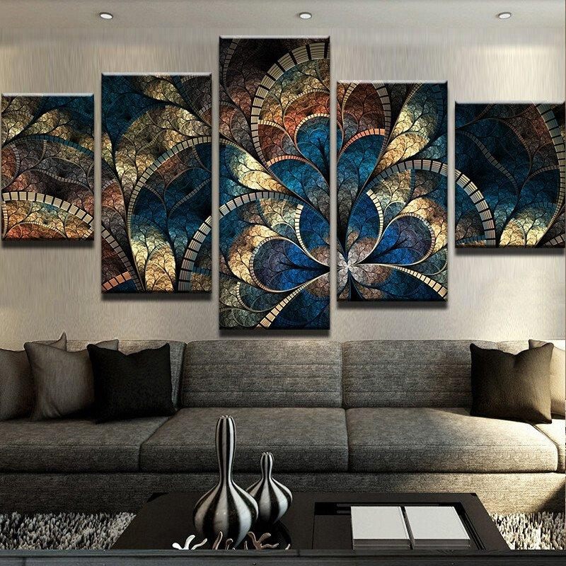 5 Piece Fantasy Flowers Canvas Wall Art Paintings   It Make Your Day
