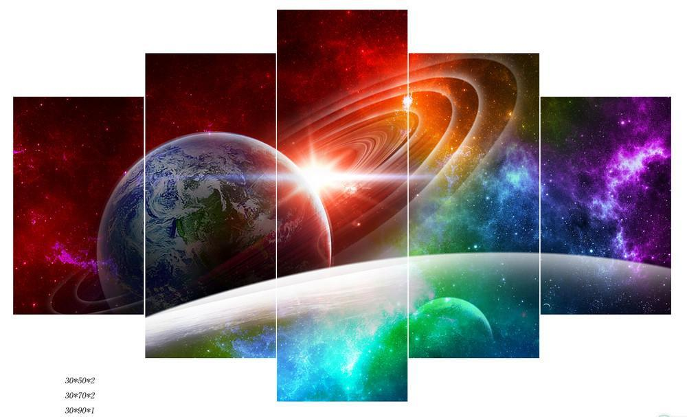 5 Piece Abstract Modern Universe Canvas Painting Wall Art - It Make Your Day