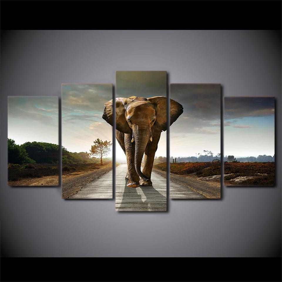 5 Piece Africa Elephants Landscape Large Canvas Painting Nature - It Make Your Day