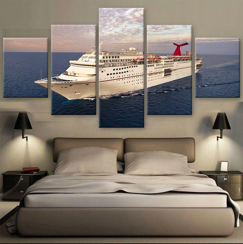 5 Piece Cruise Ship on the Sea Canvas Painting Landscape - It Make Your Day