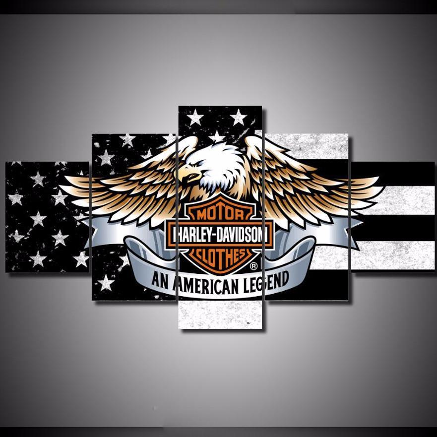 Perfect 5 Piece American Harley Davidson Canvas Paintings Wall Art   It Make Your  Day