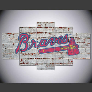 5 Piece Atlanta Braves Baseball Canvas Wall Art Paintings Sets - It Make Your Day