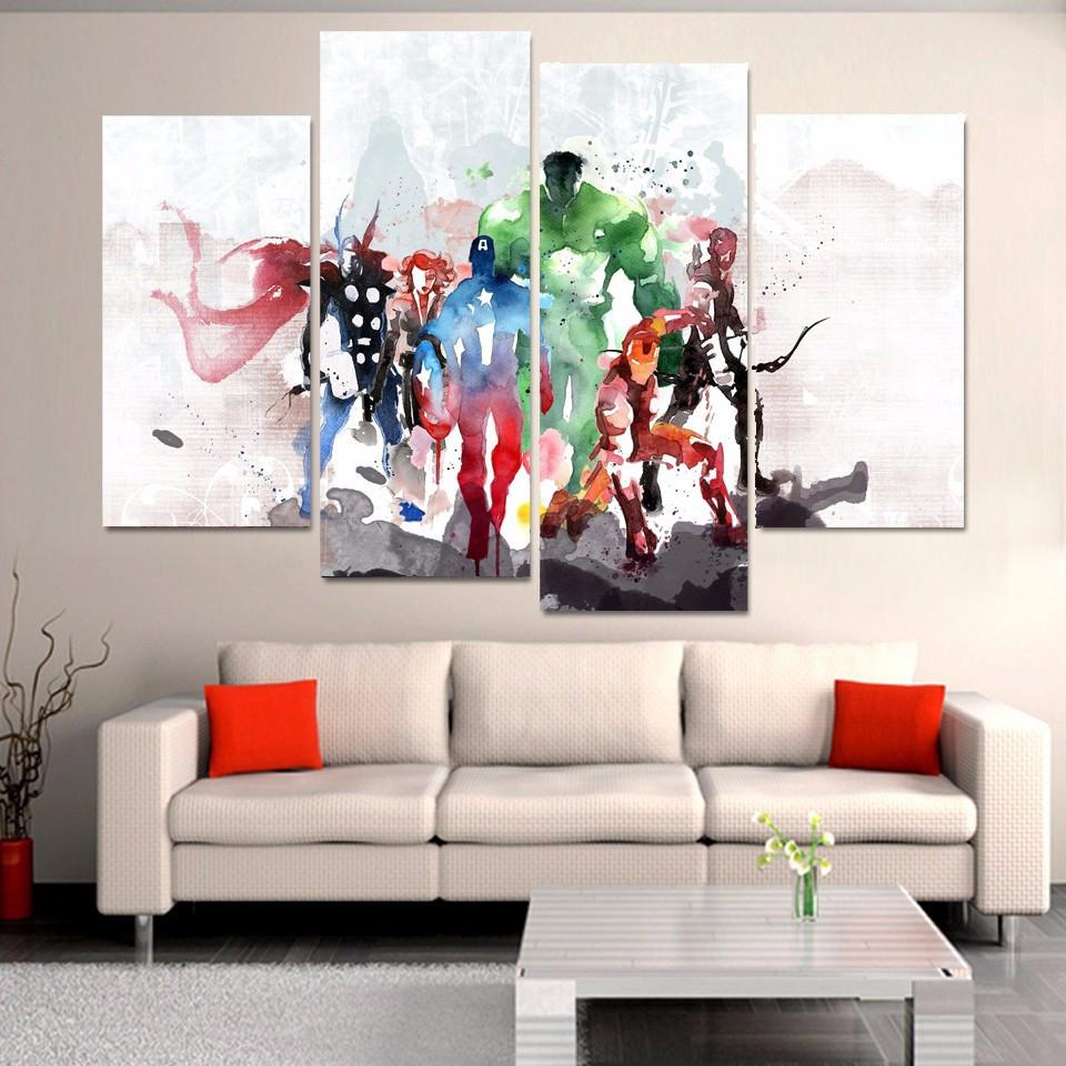 4 Piece Avengers Movie Watercolor Canvas Wall Art Paintings - It Make Your Day