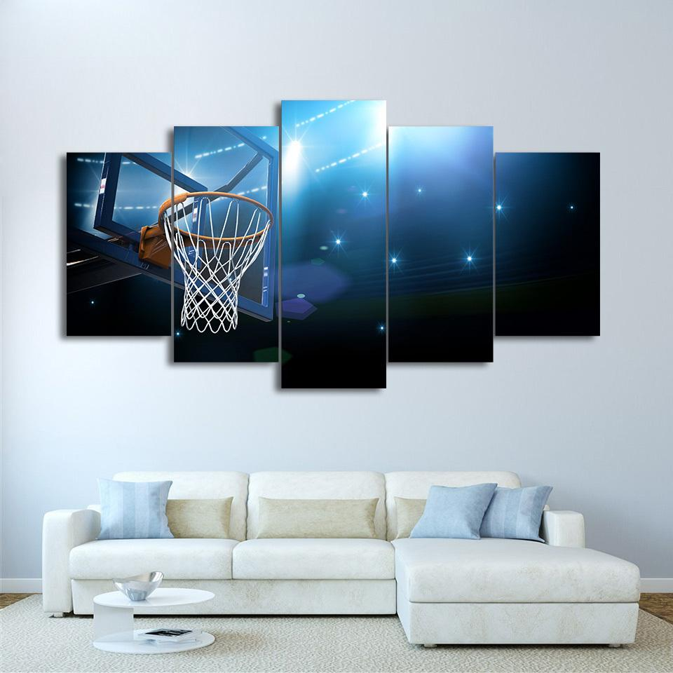 5 Piece Basket Goal Sports Basketball Canvas Painting Wall Art - It Make Your Day