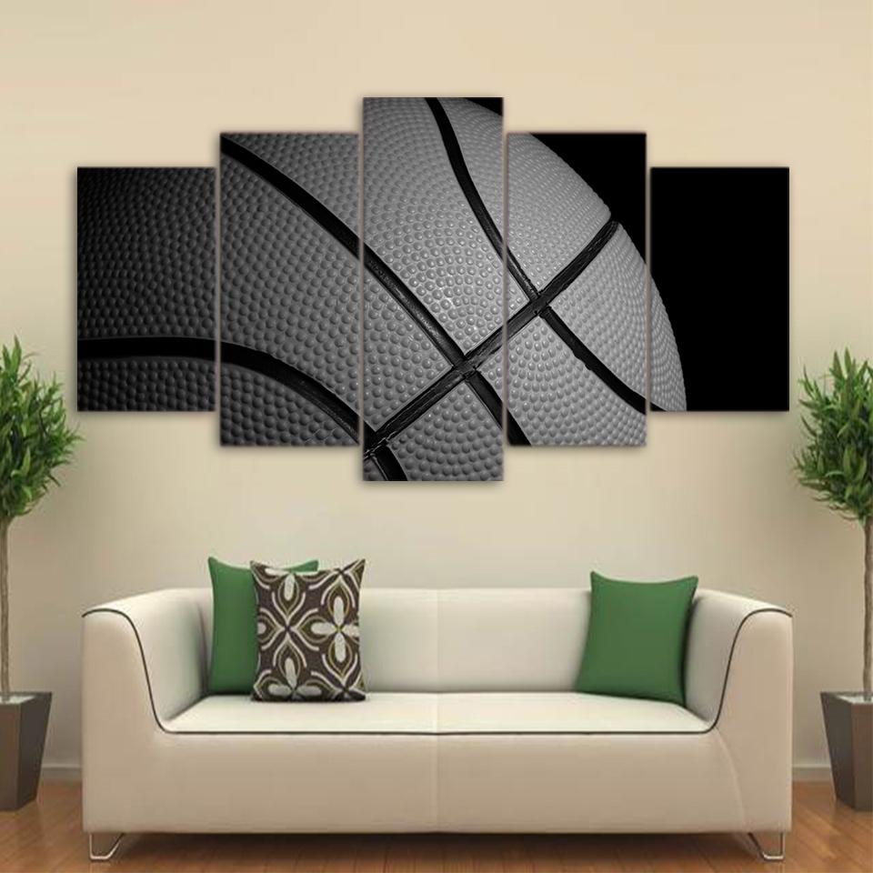 5 Piece Basketball Black And White Sports Canvas Painting Wall Art   It  Make Your Day