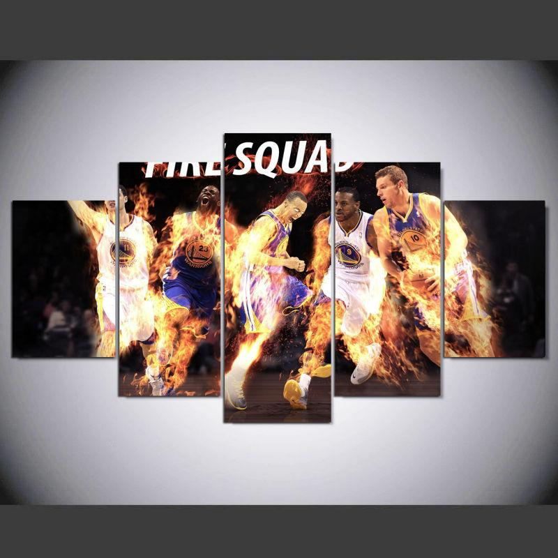 5 Piece Basketball Golden State Warriors Canvas Wall Art Paintings - It Make Your Day