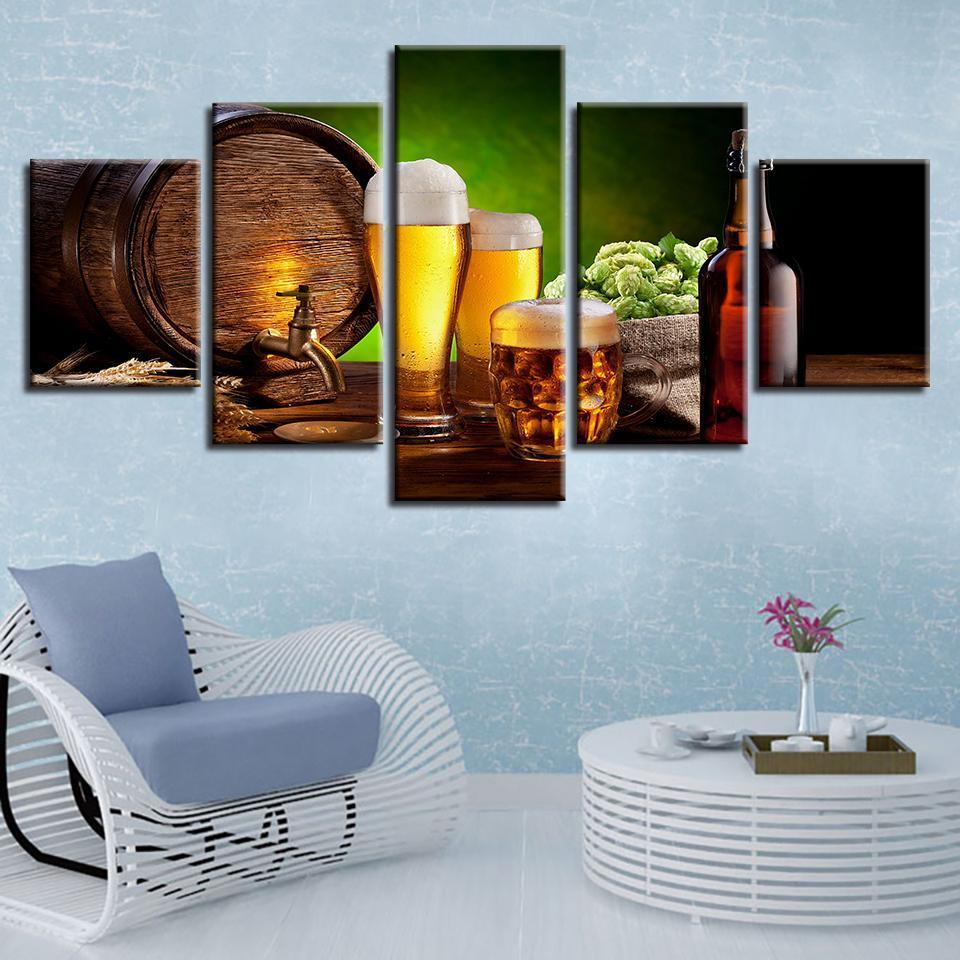 5 Piece Beer Print 13 Canvas Wall Art Sets - It Make Your Day