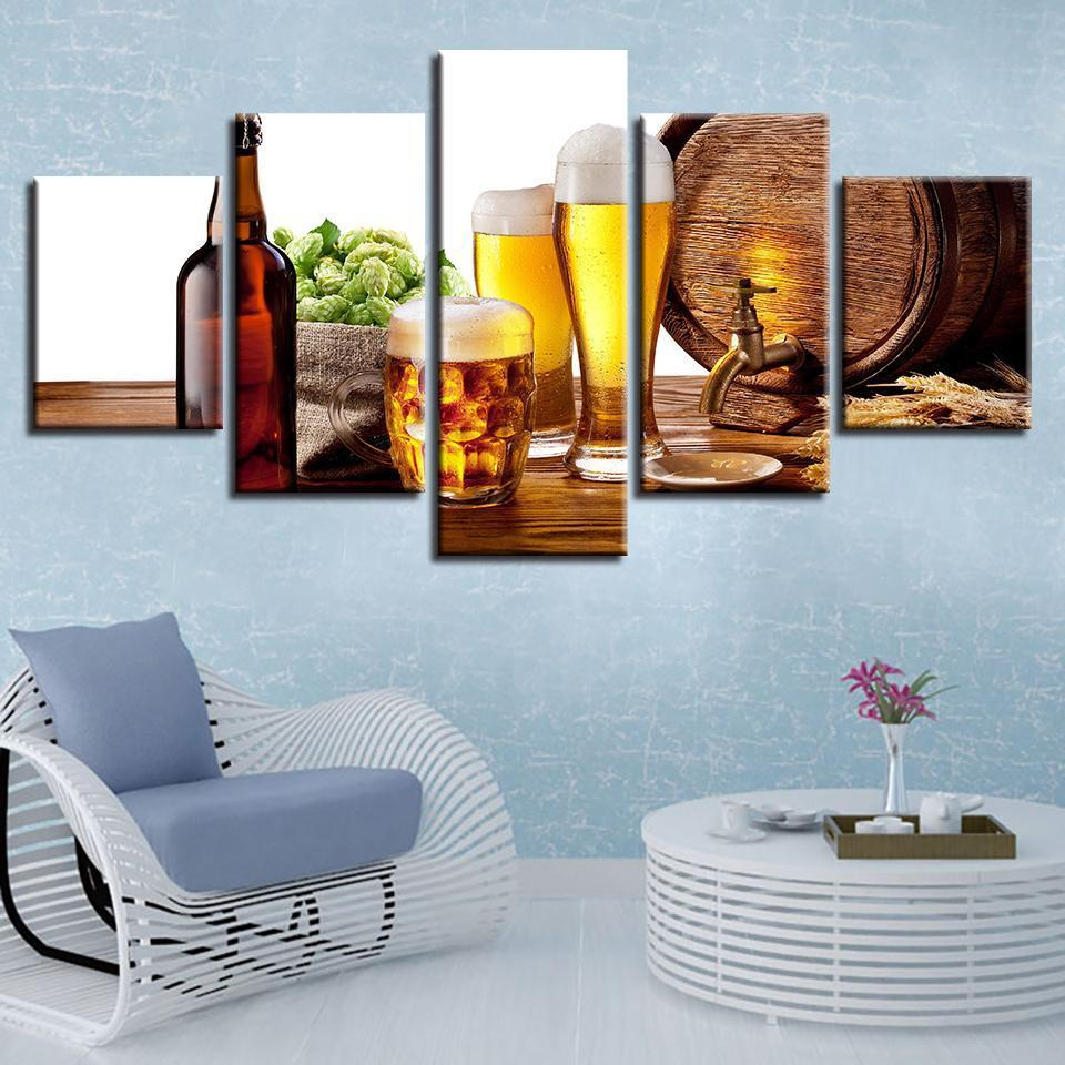 5 Piece Beer Print 14 Canvas Wall Art Sets - It Make Your Day