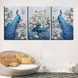 Framed 3 Piece Blue Peacock Flowers Canvas - It Make Your Day