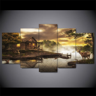 5 Piece Cabin By The Lake Canvas Paintings Wall Art - It Make Your Day