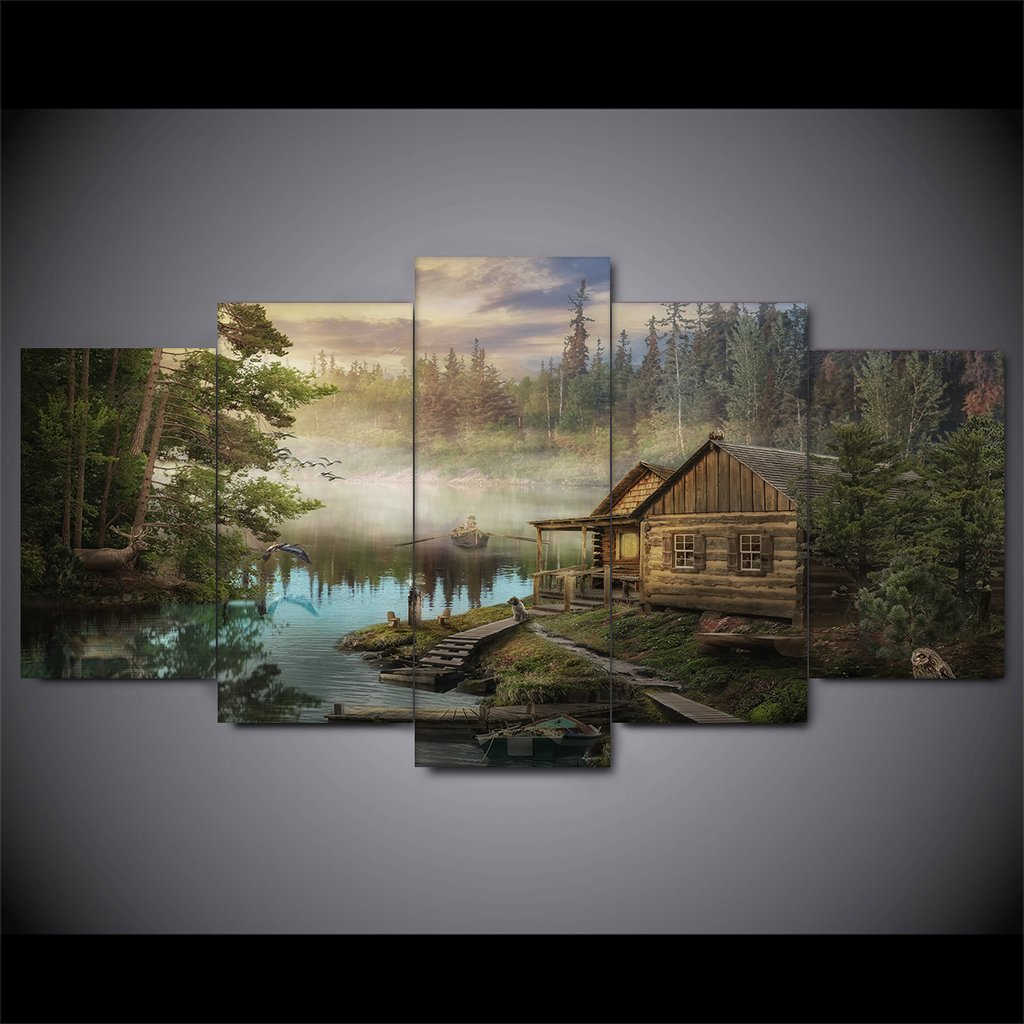 Cabin On The Lake Canvas - It Make Your Day