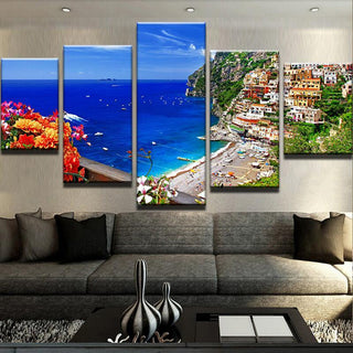 5 Piece Coast Of Amalfi Italy Flowers Canvas Wall Art Paintings - It Make Your Day