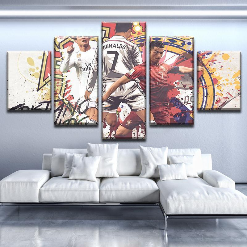 5 Piece Cristiano Ronaldo Splash Canvas Wall Art Paintings - It Make Your Day