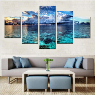 5 Piece Beautiful Calm Water Ocean Canvas Paintings Wall Art