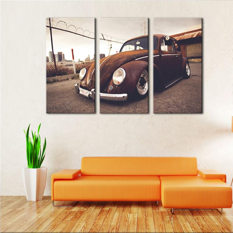 3 Panel Beetle Vintage Classical Retro Car Canvas - It Make Your Day