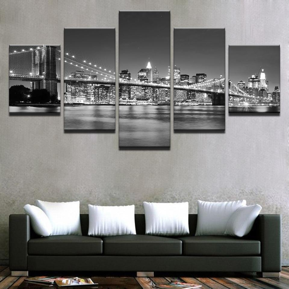 Black White Brooklyn Bridge City Night View - It Make Your Day