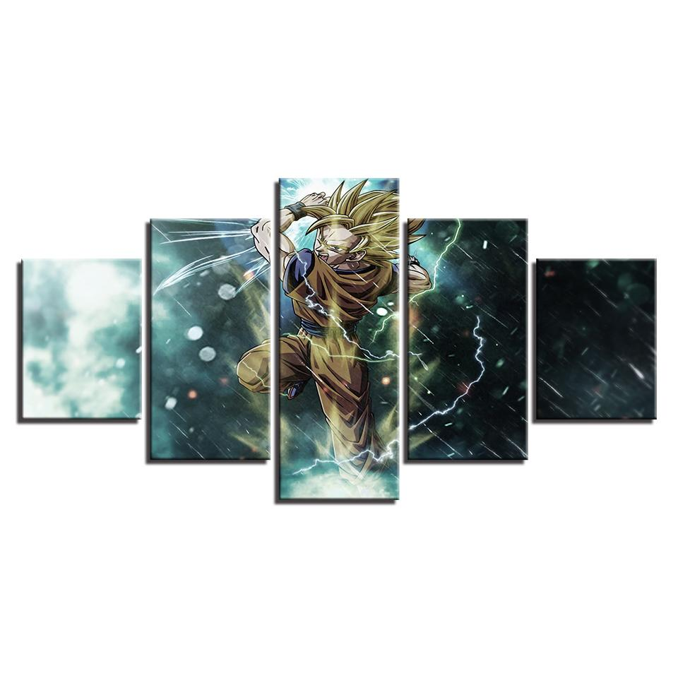 Framed 5 Piece Dragon Ball Z Super Saiyan Animie Canvas Wall Art Paintings - It Make Your Day