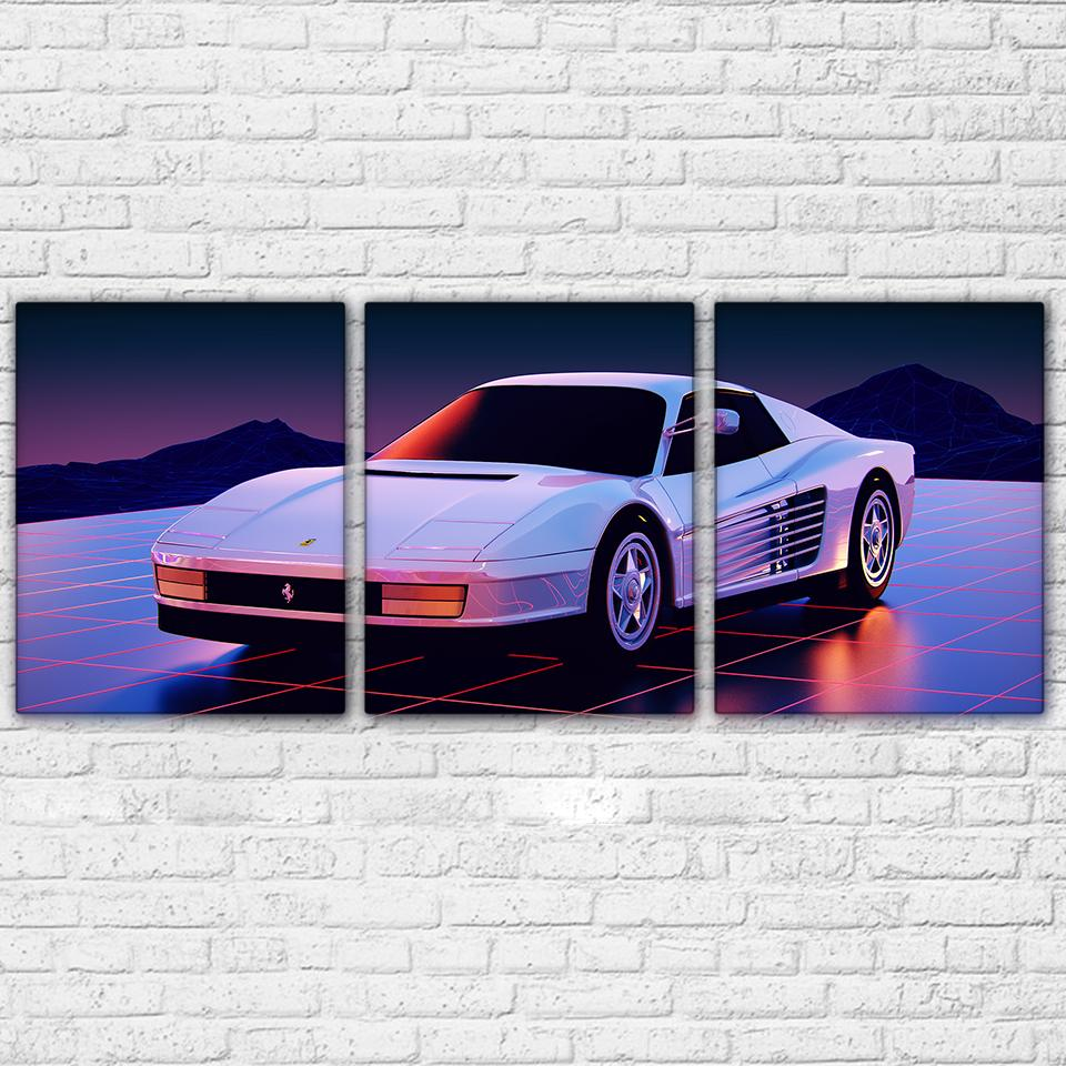 3 Piece White Deluxe Sports Car Canvas - It Make Your Day
