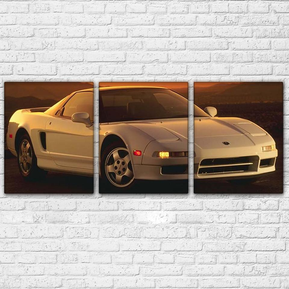 3 Panel White Deluxe Sports Car Canvas - It Make Your Day