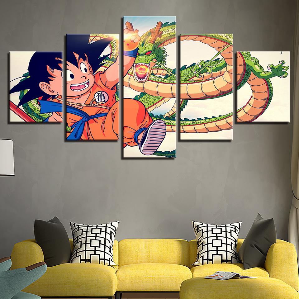 Framed 5 Piece Cartoon Anime Dragon Ball 19 Canvas Wall Art Paintings - It Make Your Day
