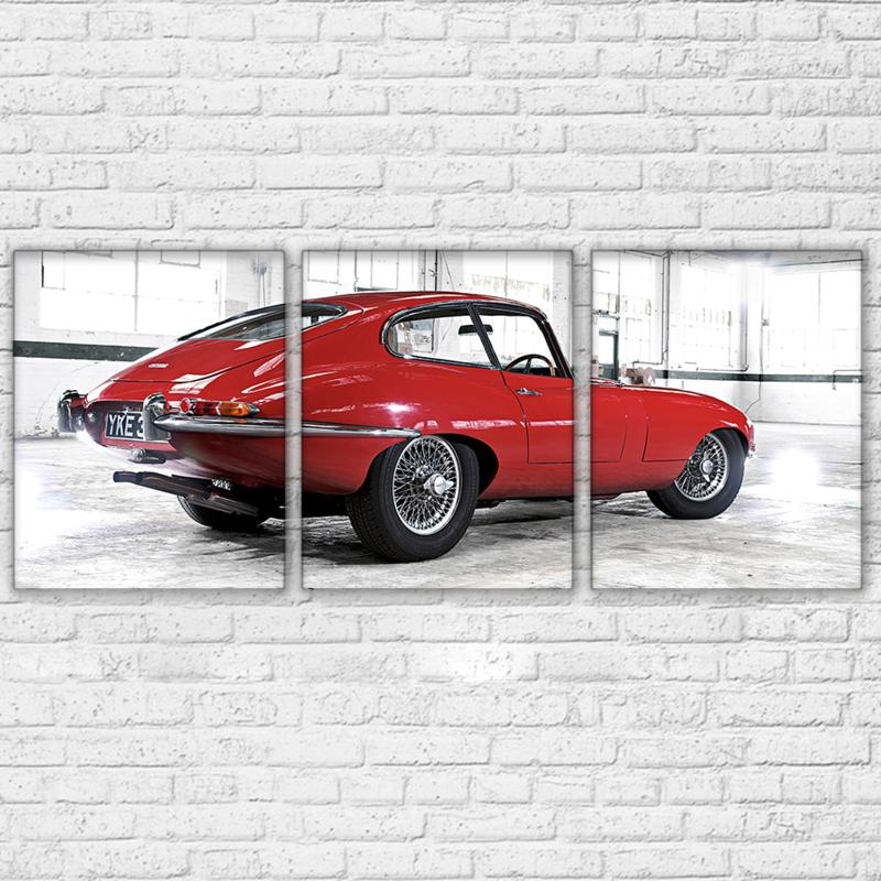 3 Piece Red Retro Cool Sports Car Canvas Wall Art Sets - It Make Your Day