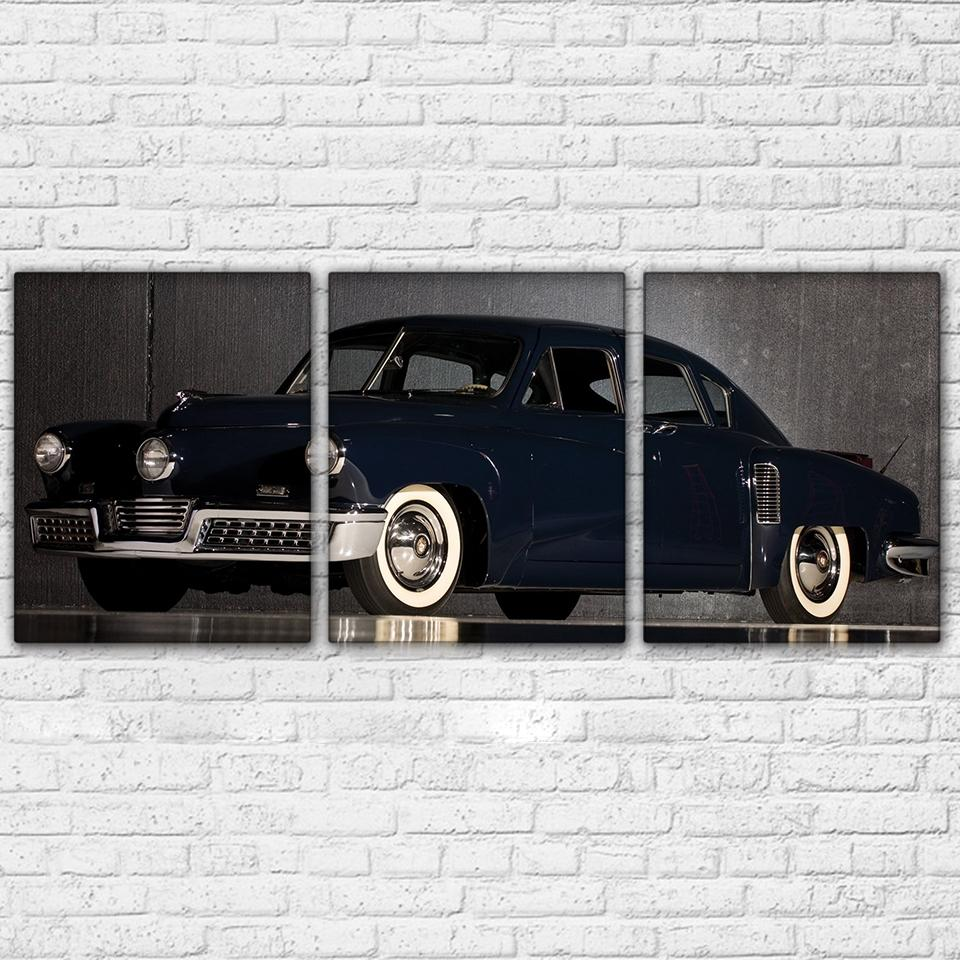 3 Panel Black Car Canvas Wall Art Sets   It Make Your Day