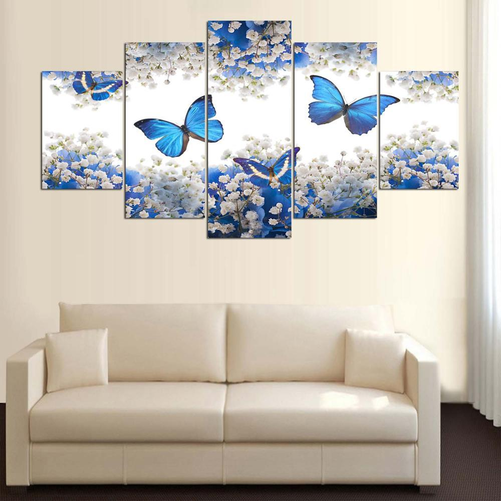 Framed 5 Piece Blue Butterfly Canvas Wall Art Sets - It Make Your Day