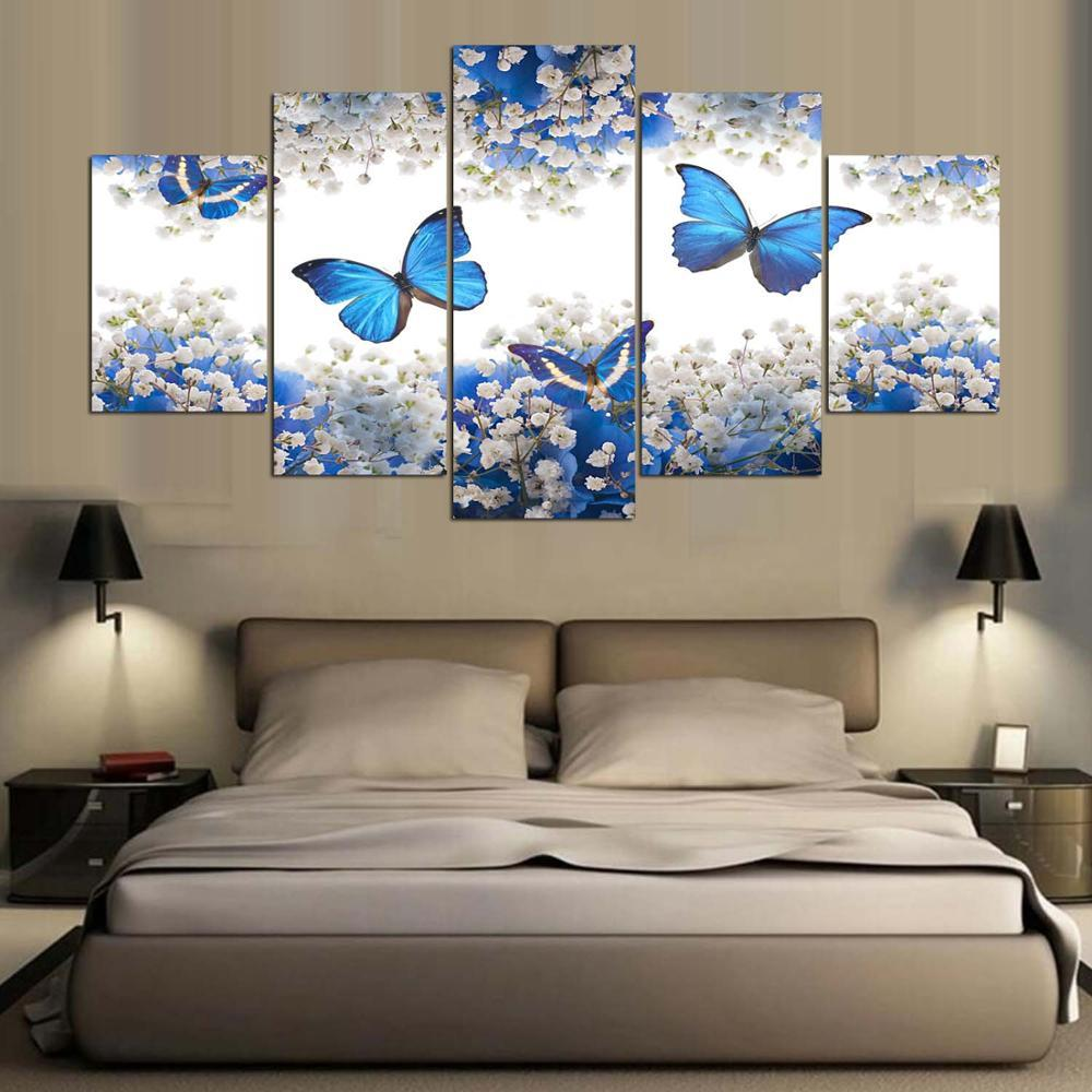 Framed 5 Piece Blue Butterfly Canvas Wall Art Sets - It ...