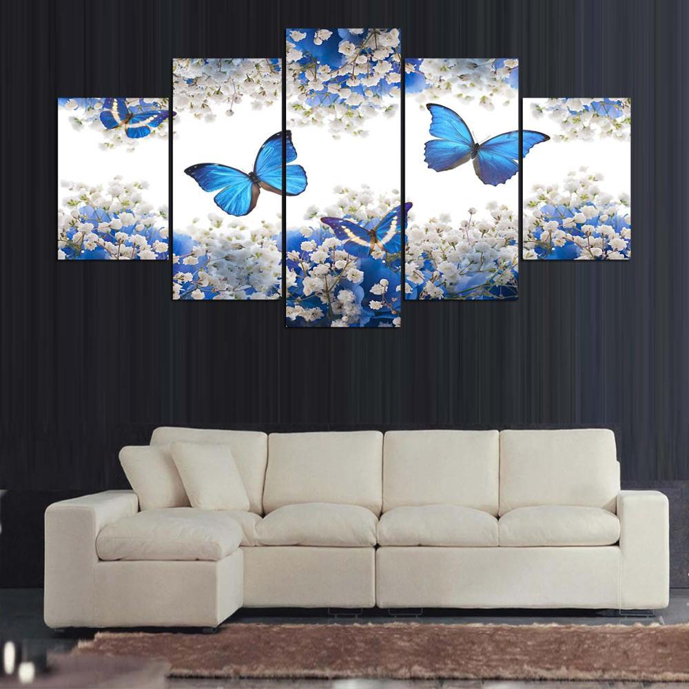 framed 5 piece blue butterfly canvas wall art sets it make your day. Black Bedroom Furniture Sets. Home Design Ideas