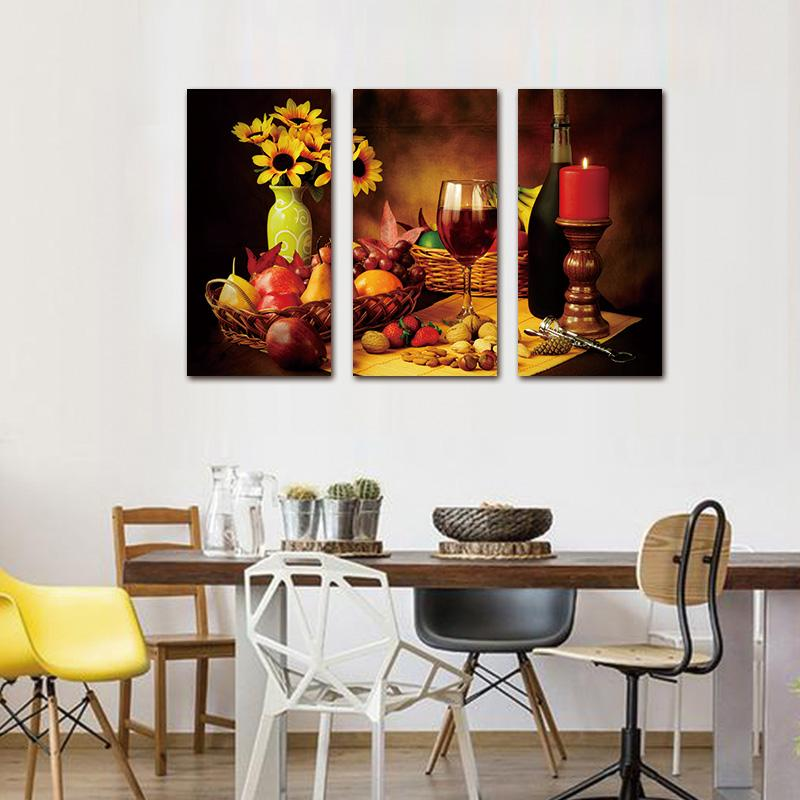 3 Piece Wine Grape Fruit Vintage Home Canvas Wall Art Paintings - It Make Your Day