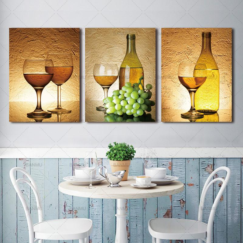 Delightful 3 Piece Realist Combination White Grape Wine Canvas Wall Art Paintings   It  Make Your Day