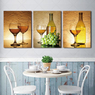 3 Piece Realist Combination White Grape Wine Canvas Wall Art Sets - It Make Your Day