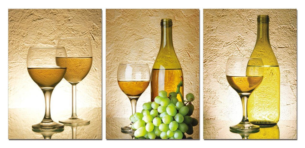 3 Piece Realist Combination White Grape Wine Canvas Wall Art Paintings - It Make Your Day