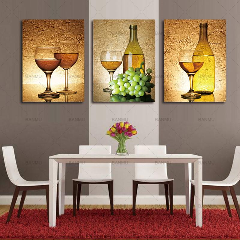 ... 3 Piece Realist Combination White Grape Wine Canvas Wall Art Paintings    It Make Your Day
