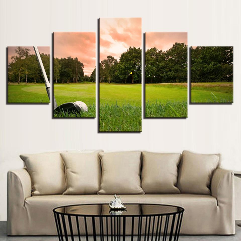 5 Pieces Sunset Golf Course HD Prints Canvas - It Make Your Day